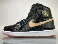 "Authentic Air Jordan Retro 1 High OG Patent Leather""Black Gold"""