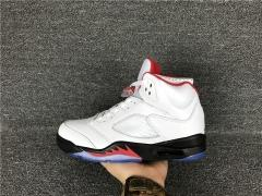 Authentic Air Jordan 5 Retro  white red