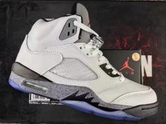 Authentic Air Jordan 5 White-Silve