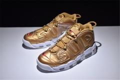 "Authentic  Supreme X Air More Uptempo ""Gold"" Men and women shoes  (best quality)"