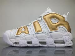 "Super max perfect Air More Uptempo ""White/Gold "" Men and Women shoes (98.5%Authenic)(better quality)"