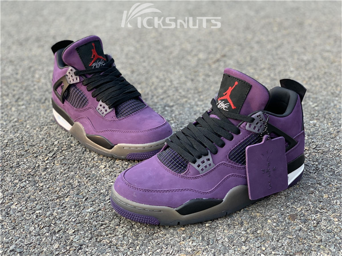 new styles 76095 5b772 Authentic Travis Scott x Air Jordan 4 Purple Suede