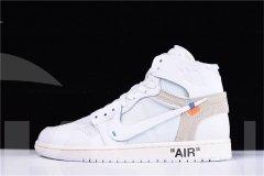 "Authentic OFF-WHITE x Air Jordan 1 High OG 10X""Triple White""men and women shoes"